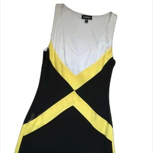 Bebe Cocktail V Neck Dress Black White Yellow XS